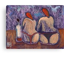 Me the Wife and her Mother at the beach Canvas Print