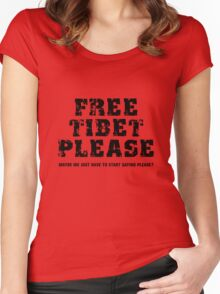 Free Tibet Please Women's Fitted Scoop T-Shirt
