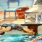 Get Set, Go! watercolor painting swimming competition by Almondtree