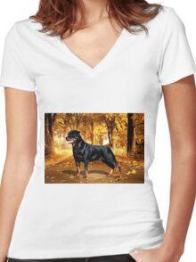 Rottweiller Dog Women's Fitted V-Neck T-Shirt