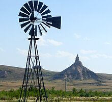 Nebraska Windmill with Chimney Rock by Patrick Czaplewski