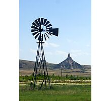 Nebraska Windmill with Chimney Rock Photographic Print