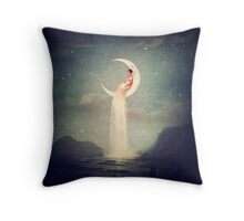 Moon River Lady Throw Pillow