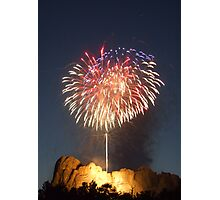 Fireworks over Mt. Rushmore Photographic Print