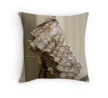 Wasp building nest. Throw Pillow