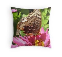 Butterfly and Zinnia Throw Pillow