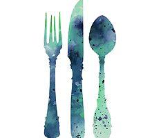 Cutlery silhouette art print watercolor painting by Joanna Szmerdt