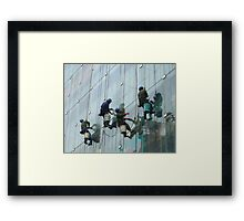 Window cleaning in Shanghai Framed Print