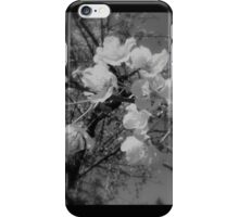 cherry blossoms in the sky, black and white iPhone Case/Skin