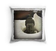 Winter Calm - Buddha in Snow  Throw Pillow