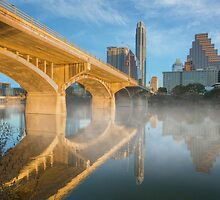 Winter Morning at Congress Bridge in Austin Texas by RobGreebonPhoto