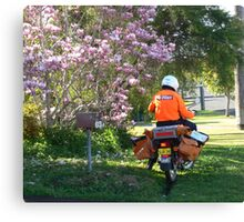 Postie delivering mail near a Magnolia !!! Canvas Print
