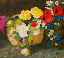 Basket of Flowers Floral Painting by Sue Cervenka