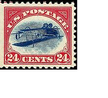 Inverted Jenny Airmail Stamp Sticker - small by JimNH