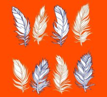 Feather Orange and Blue Outline Design Kids Clothes