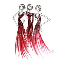 Red Bling Dress Photographic Print