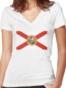 florida state flag Women's Fitted V-Neck T-Shirt