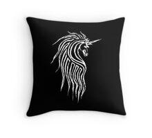 Unicorn - white on dark Throw Pillow