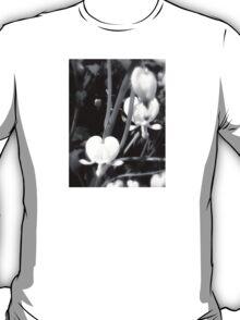 white bleeding heart macro, black and white T-Shirt