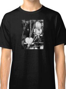 white bleeding heart macro, black and white Classic T-Shirt
