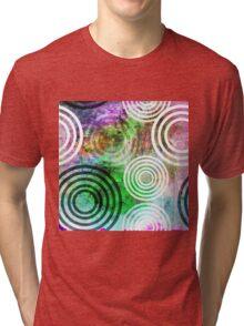 Grungy Green Circle Pattern Tri-blend T-Shirt