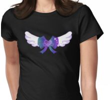 Kawaii Blue Wing Heart Bow Womens Fitted T-Shirt