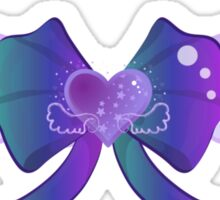 Kawaii Blue Wing Heart Bow Sticker