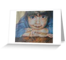 Pensive - A Portrait Of A Boy Greeting Card