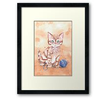 Kitten With Yarn Framed Print