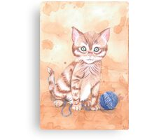 Kitten With Yarn Canvas Print
