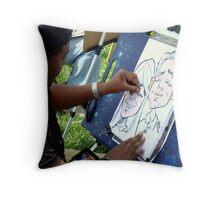 Caricature Artist Throw Pillow