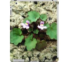 Small flower growing on the old rock wall iPad Case/Skin