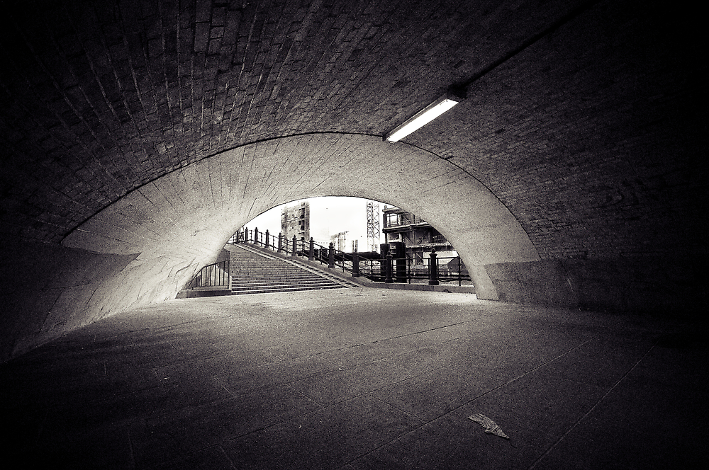 passenger tunnel arc bw by Markus Mayer