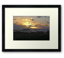 Blue Sky Rays Sunset Framed Print