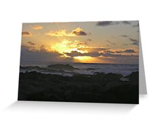 Blue Sky Rays Sunset Greeting Card