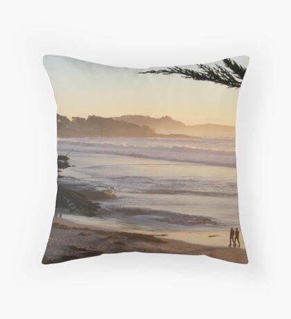 Carmel, CA Peach Sunset Throw Pillow