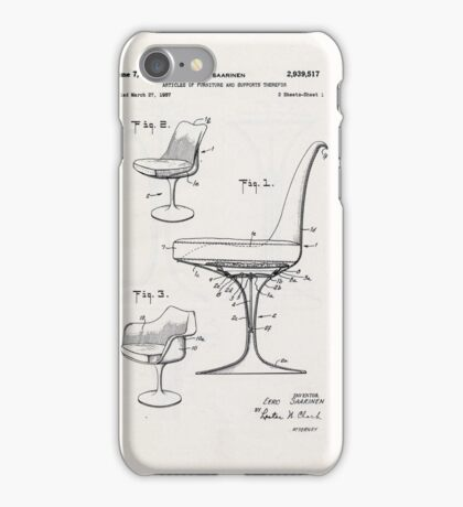 Eero Saarinen - Tulip Arm Chair - Patent Artwork iPhone Case/Skin