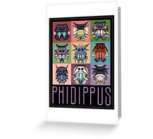 Phidippus Portraits - Pixel Art Spider Poster - Thomas Shahan Greeting Card