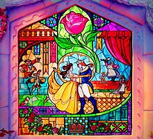 Beauty & The Beast Glass Art by GiraffesAreCool