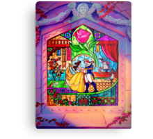 Beauty & The Beast Glass Art Metal Print