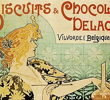 'Biscuits and Chocolat Delacre' by Privat Livemont (Reproduction) by Roz Abellera Art Gallery
