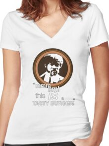 """""""This is a tasty burger!"""" Women's Fitted V-Neck T-Shirt"""