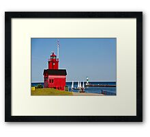 """Big Red"" Lighthouse in Holland, Michigan Framed Print"