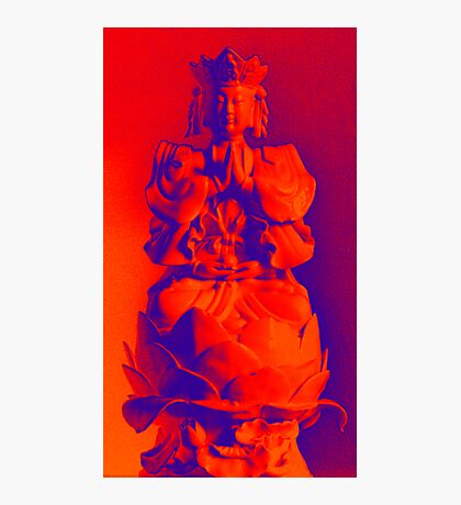 Buddha Icon in Red and Orange Photographic Print