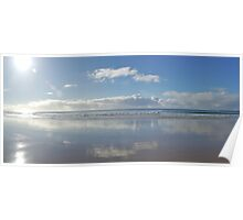 Lorne beach morning reflections Poster