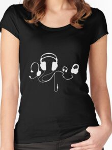 Headphones WHITE Women's Fitted Scoop T-Shirt