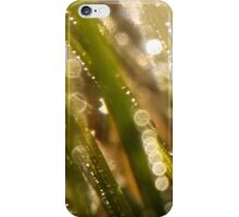 Bokeh waterdrops on grass blades I iPhone Case/Skin