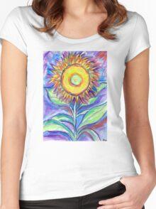Flagler Beach Sunflower Women's Fitted Scoop T-Shirt