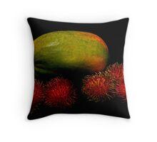 Papaya and Rambutan Throw Pillow