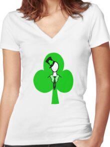 Irish Slenderman Women's Fitted V-Neck T-Shirt